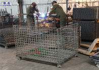 Heavy Duty Wire Mesh Pallet Cages Galvanized Cold Drawn Steel Foldable Basket