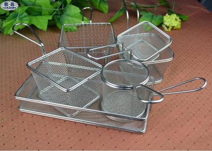 Customized Stainless Steel Rectangular Fryer Serving Basket 26x13x4.5cm